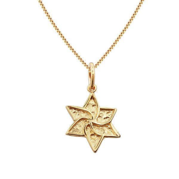 Gargantilha de Estrela de David texturizada em semijoia banhado em ouro 18k
