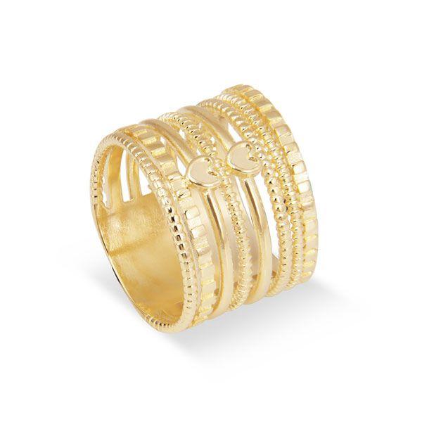 ANEL 8 felicidades da coleção SEREIA em banho de ouro 18k