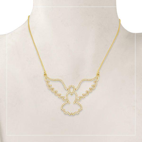 Gargantilha Espirito Santo ou Águia de ouro 18k / 750 e diamante na lapidação brilhante