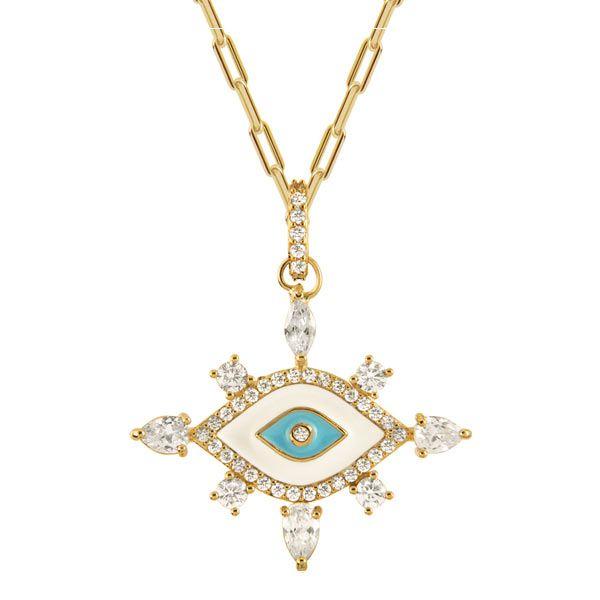 Gargantilha Olho Grego de ouro 18k / 750 com safiras brancas e diamante na lapidação brilhante