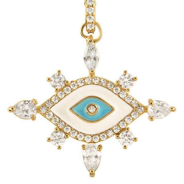 Gargantilha olho grego banhada em ouro 18 k com zircônias