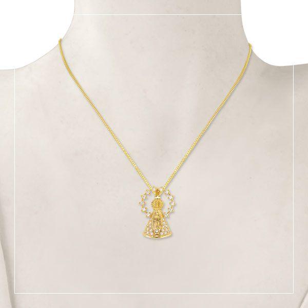 Gargantilha Santo com Auréola banhada em ouro 18 k com microzircônias