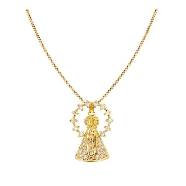 Gargantilha santa em ouro 18k / 750 e diamante na lapidação brilhante