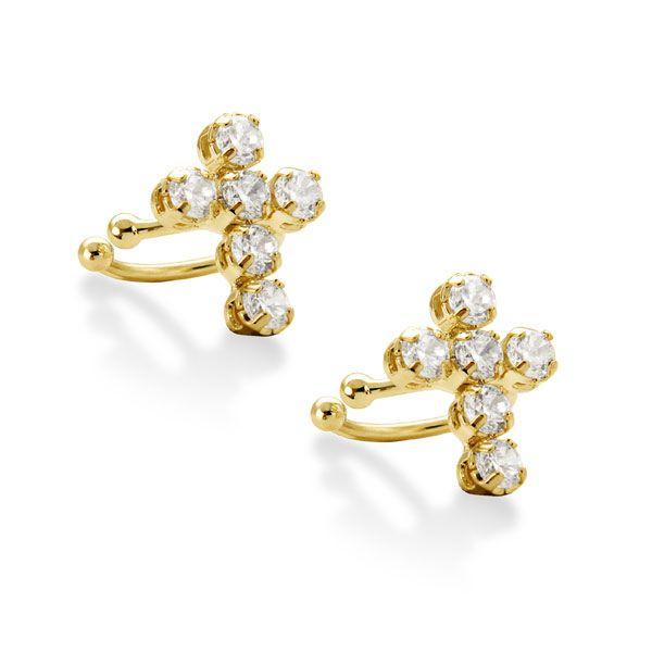 Brinco Piercing Cruz de ouro 18k / 750 e diamante na lapidação brilhante