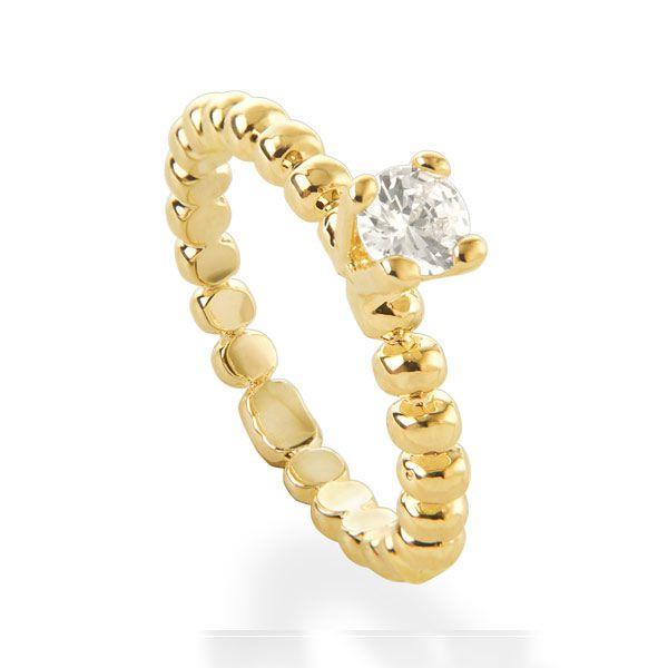 Anel aliança solitário de ouro 18k / 750 e diamante na lapidação brilhante