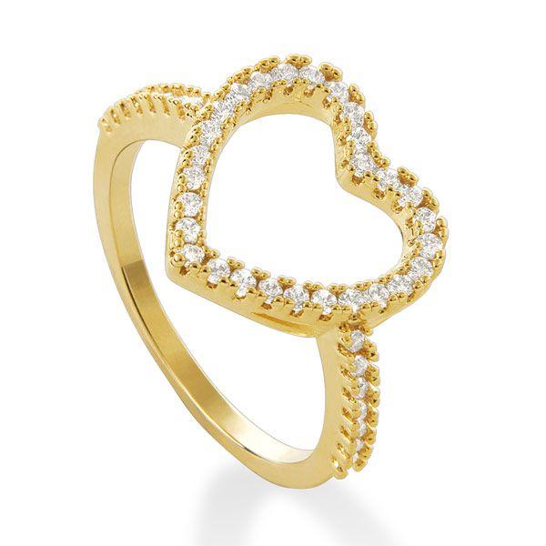 Anel coração banhado em ouro 18k com zircônias incolores