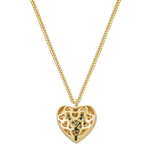 Gargantilha coração banhada em ouro 18k e 53 zircônias coloridas