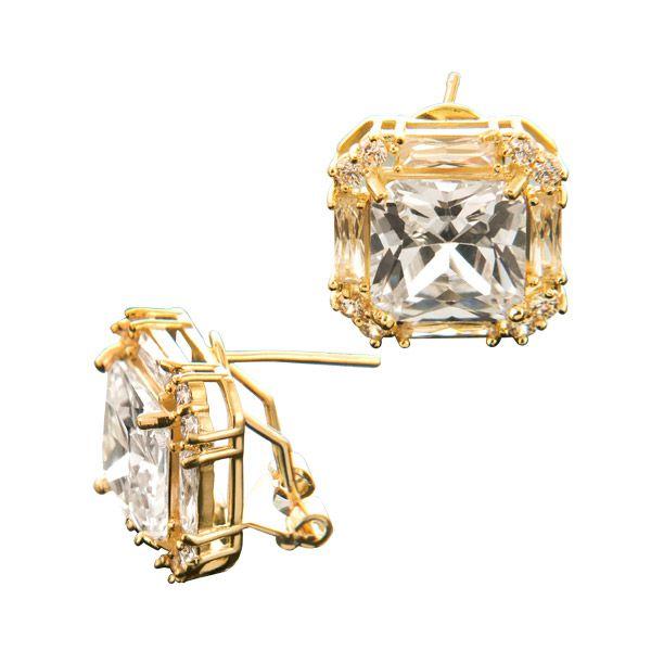 Par de Brincos em ouro 18k com brilhantes e quartzo transparentes da coleção Joia Arquétipo