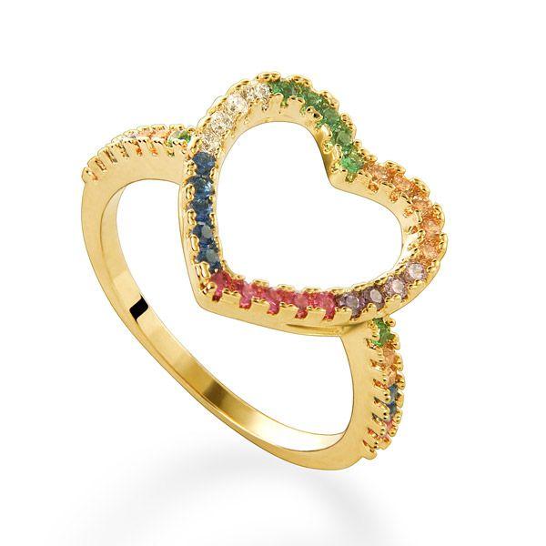Anel coração em ouro 18k e safiras coloridas - Coleção My Heart