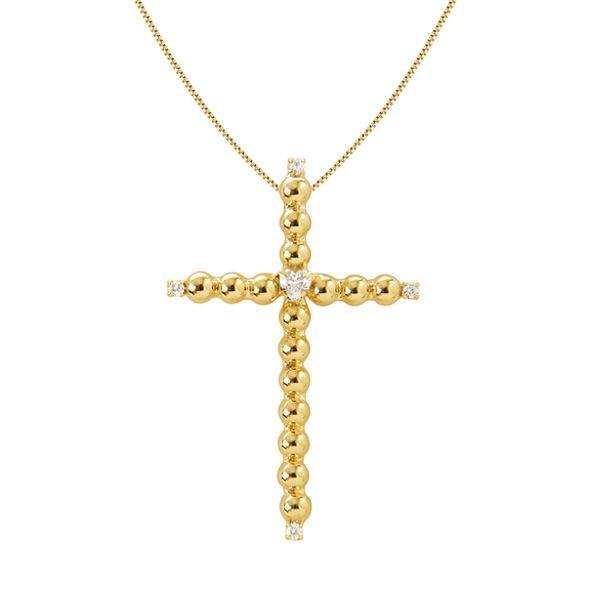 Gargantilha cruz DOTS OF LOVE banhada em ouro18k a 10mlm com zircônias