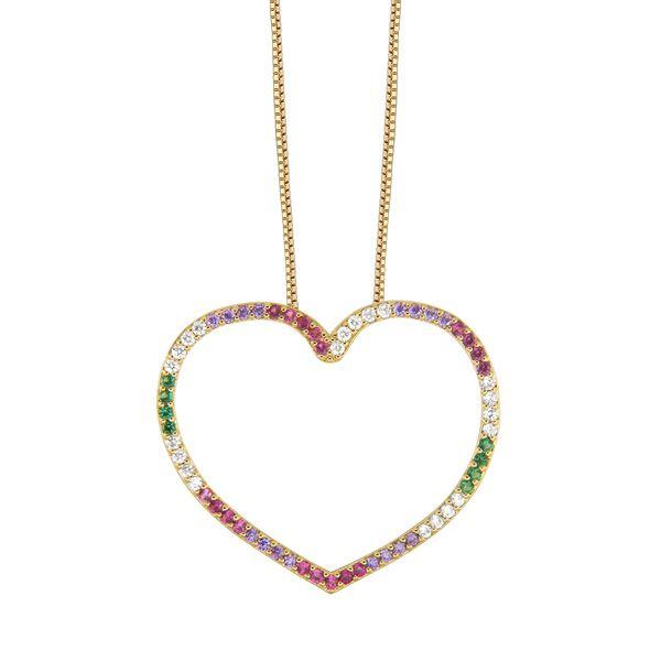 Gargantilha coração em semi joia banhada em ouro 18k e 63 zircônias