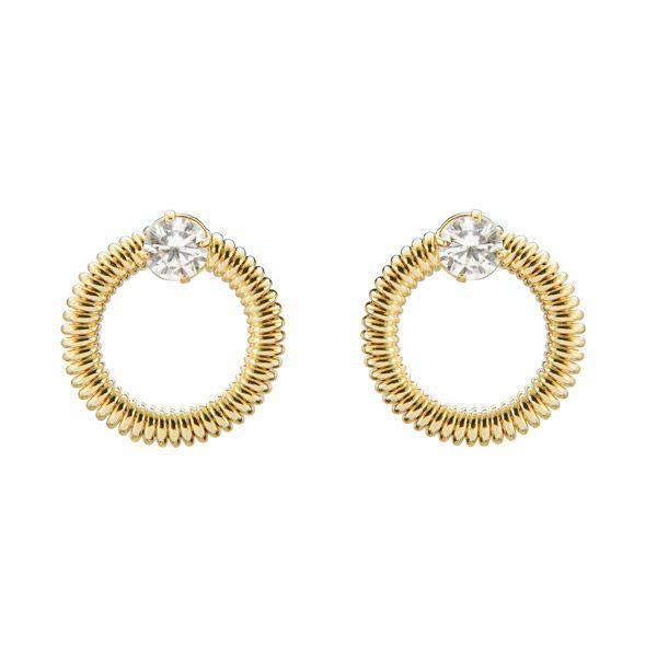Par de Brincos coleção cristalino em ouro 18k / 750 e brilhantes