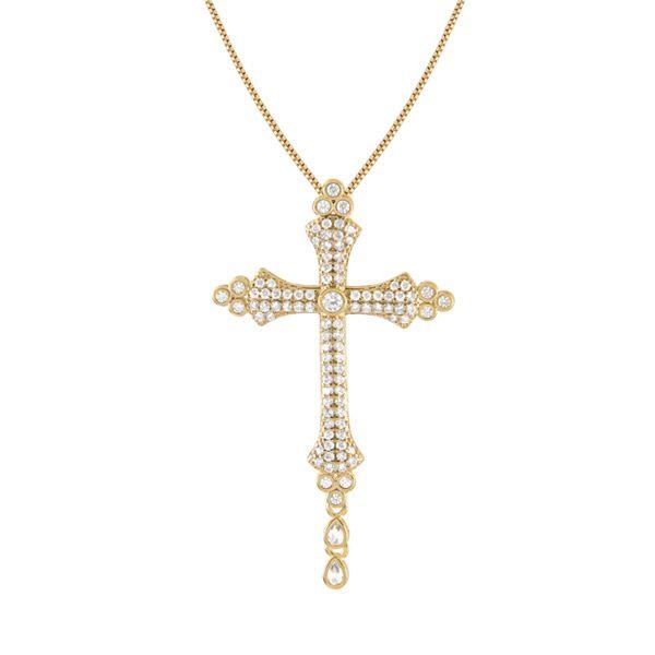 Gargantilha de Cruz cravejada de BRILHANTES em ouro18k e 0,60cts de brilhantes