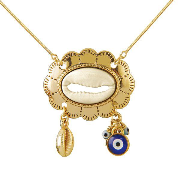 GARGANTILHA DE BÚZIOS com olho grego de murano em ouro 18k / 750