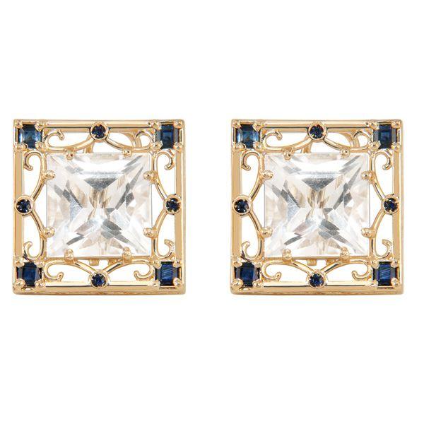 Brincos banhados em ouro18k semijoia com pino e clips de quartzo branco e safiras azuis