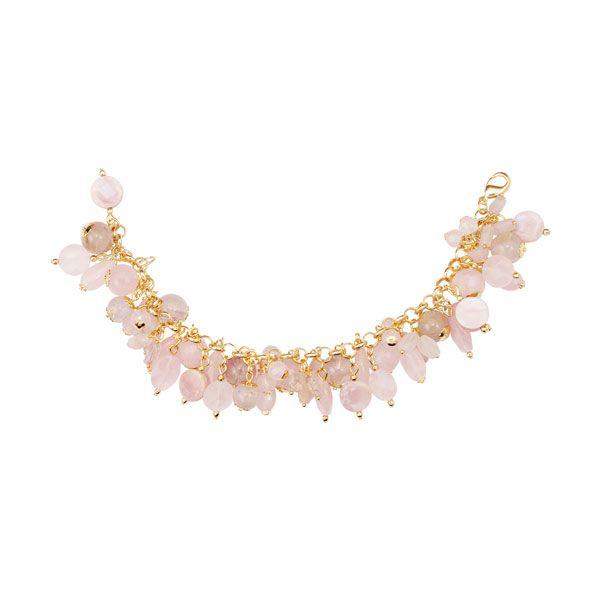 PULSEIRA de pedras naturais de quartzo rosa, madrepérola rosa e quartzo rutilado em semi joia banhada em ouro18k