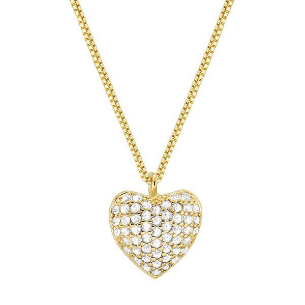 Gargantilha coração em semi joia banhada em ouro18k e 53 zircônias