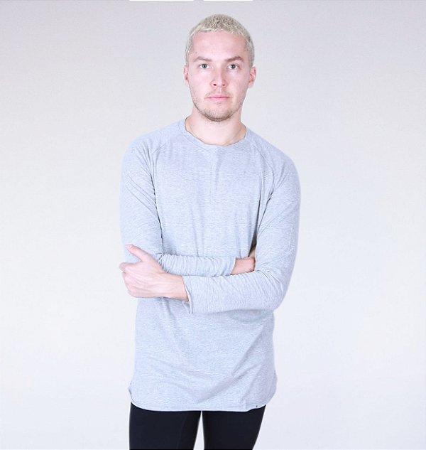 Camiseta Longline Algodão Manga Longa Mescla
