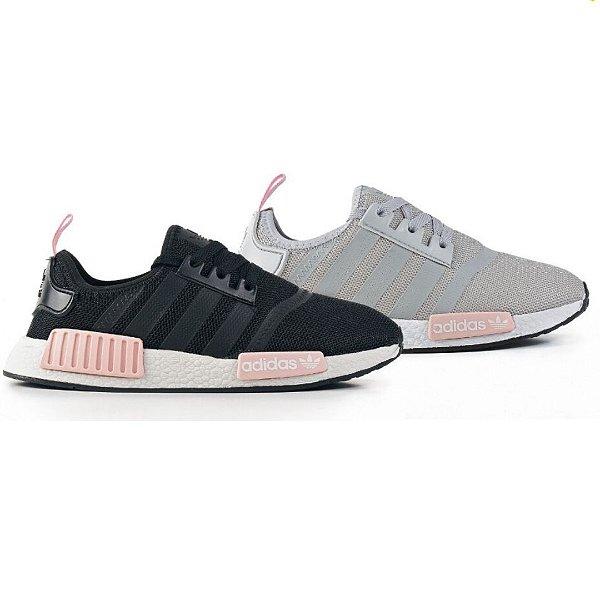 Kit 2 Pares Tênis Adidas NMD R1 Preto/Pink + Cinza