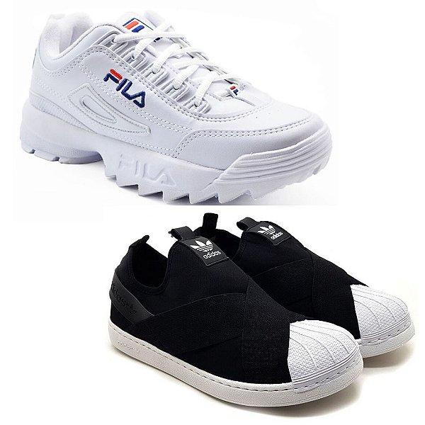 Kit 2 Pares Tênis Fila Disruptor II Branco + Adidas Slip On Preto