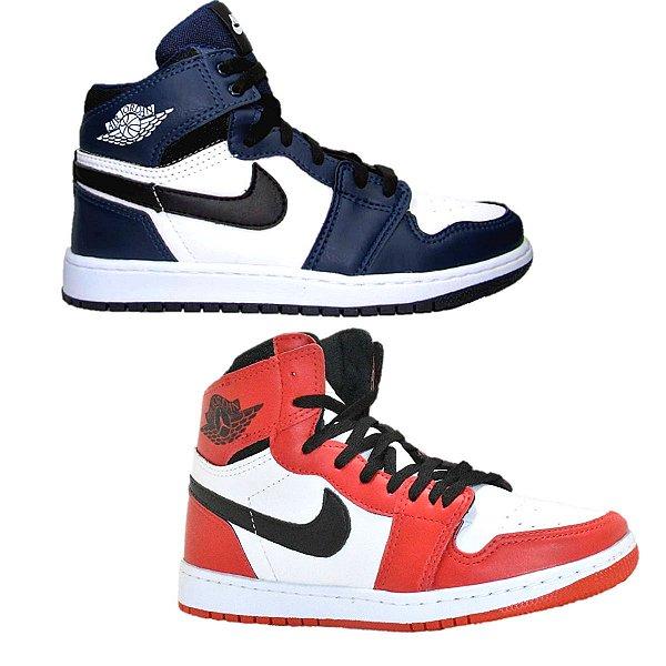 Kit 2 Pares Tênis Nike Air Jordan 1 Vermelho + Branco