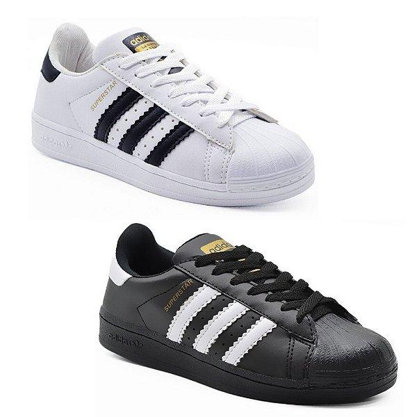 Kit 2 Pares Tênis Adidas Superstar Branco + Preto Feminino