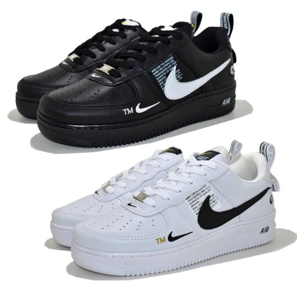 Kit 2 Pares Tênis Nike Air Force 1 TM Branco + Preto Feminino