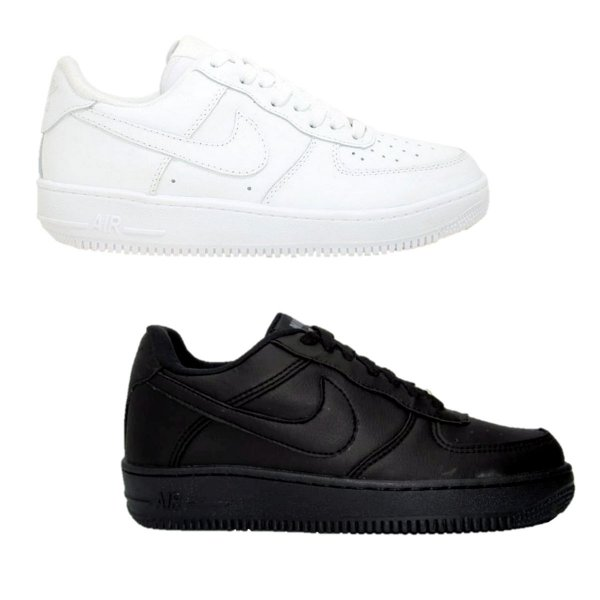 Kit 2 Pares Tênis Nike Air Force Branco + Preto Masculino