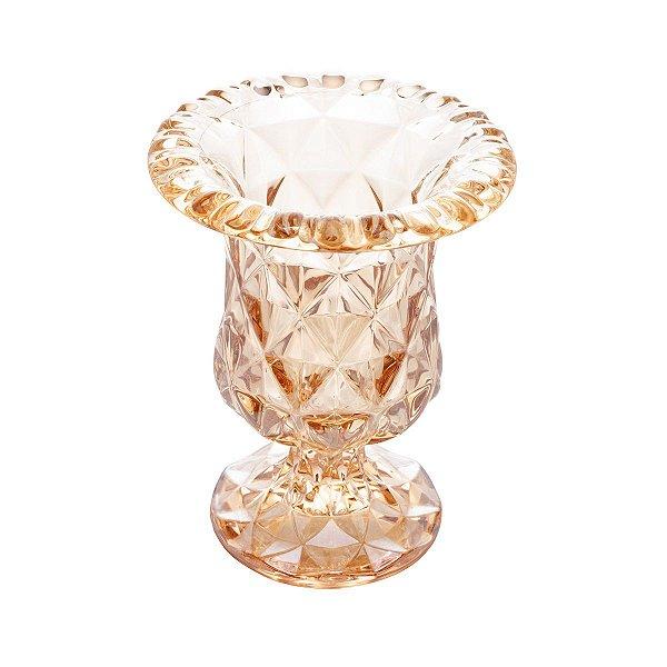 Vaso com Pe de Vidro Ambar Diamond 14,5x11,5cm LYOR