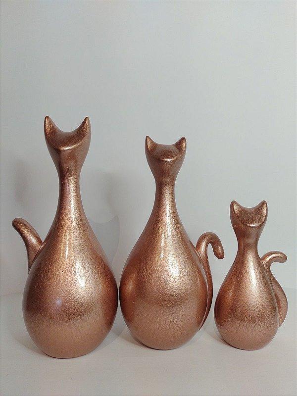 Trio de Gatos Decorativos Rose Gold em Ceramica