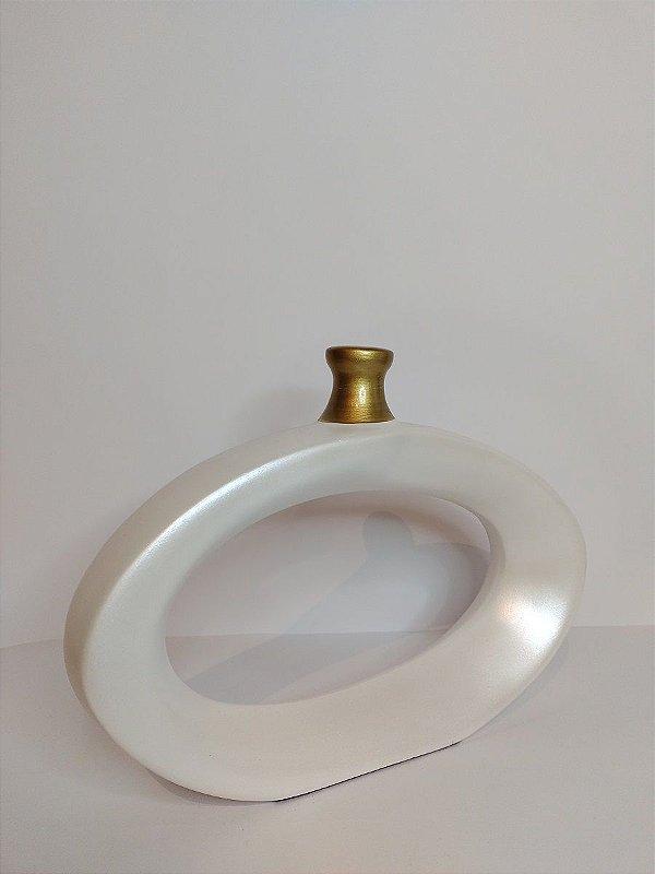 Vaso Anel Elegance Branco de Ceramica 25,5x5x19,5cm