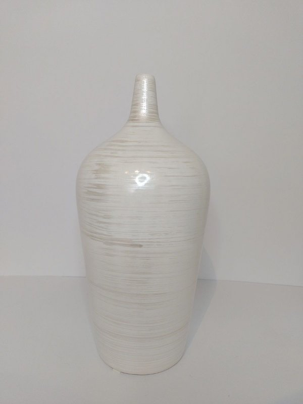 Vaso Garrafa Caribe Bege Riscado de Ceramica 14x32,5cm