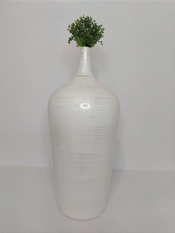 Vaso Garrafa Caribe Bege Riscado de Ceramica 12,5x26,5cm
