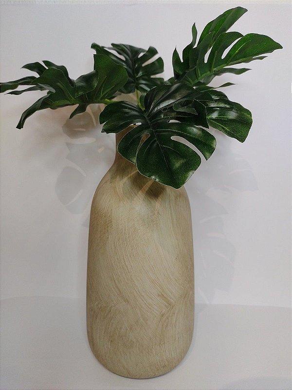 Vaso Madeira Bege de Ceramica 14x28cm