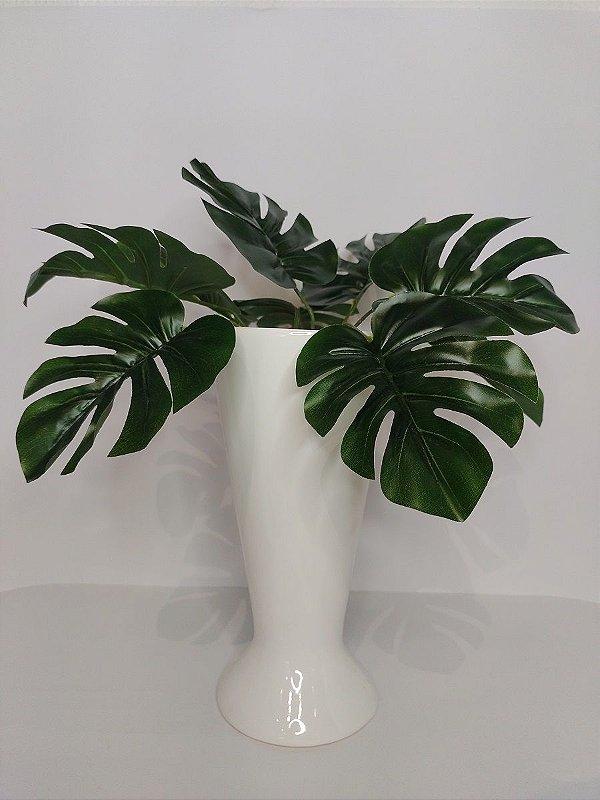 Vaso Taca Branco de Ceramica 10,5x22,5cm