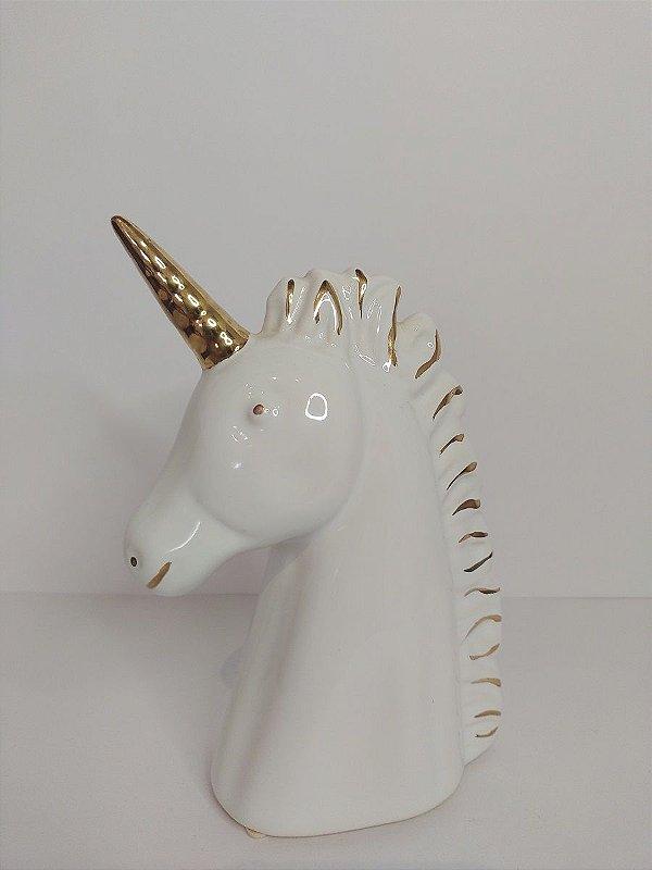 Unicornio Decorativo Branco de Ceramica