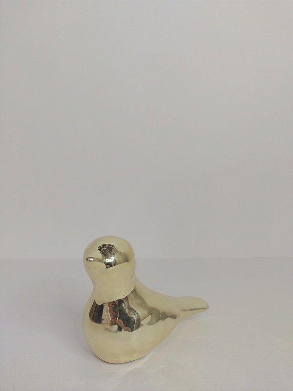 Passaro Decorativo Dourado de Ceramica 11,5x5,5x9,5cm