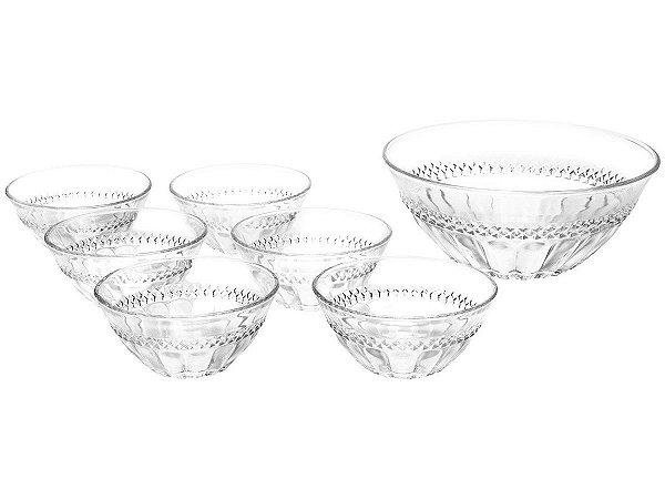 Conjunto Potes Sobremesa Cristal 7 Pecas Diamante LYOR