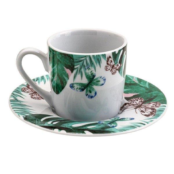 Conjunto 6 Xicaras Cafe 90ml de Porcelana com Pires Nature