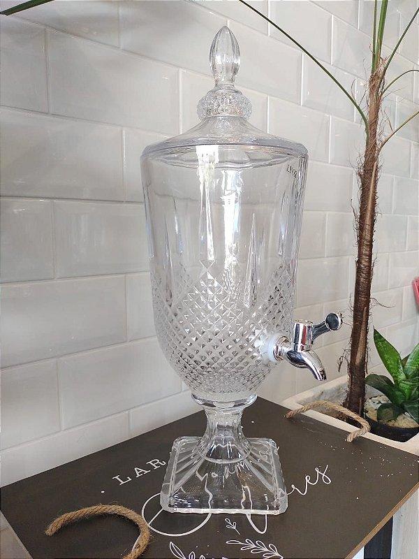 Suqueira Dispenser de Cristal 3 litros Diamante com Torneira Prata LYOR