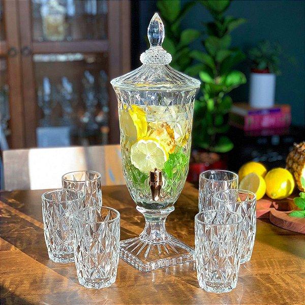 Suqueira Dispenser de Cristal 2 litros Diamond com Torneira Cobre LYOR