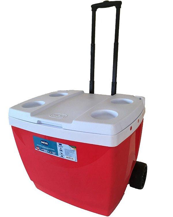 Caixa Termica 42 litros com Roda Vermelha MOR