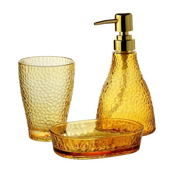 Conjunto Banheiro 3 Pecas Vidro Elegant Ambar LYOR