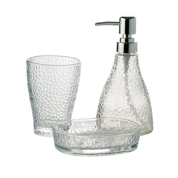 Conjunto Banheiro 3 Pecas Vidro Elegant Prateado LYOR