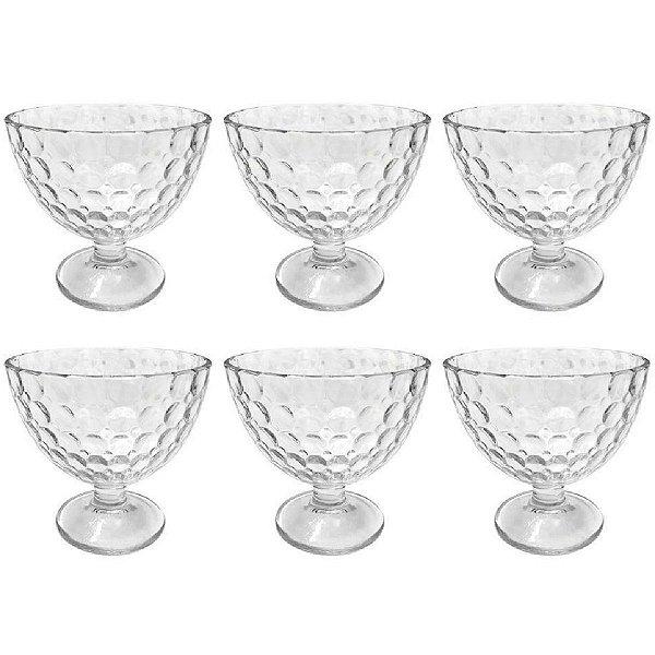 Conjunto Potes Sobremesa Cristal 6 Tacas Bolhas LYOR