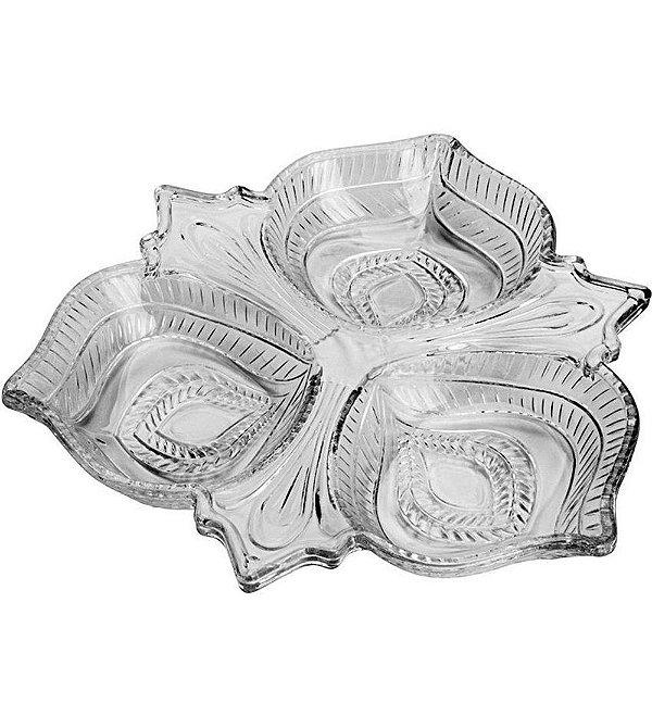 Petisqueira de Cristal com 3 Divisorias Vintage
