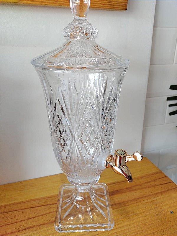 Suqueira Dispenser de Cristal 2 litros Brandon com Torneira Cobre LYOR