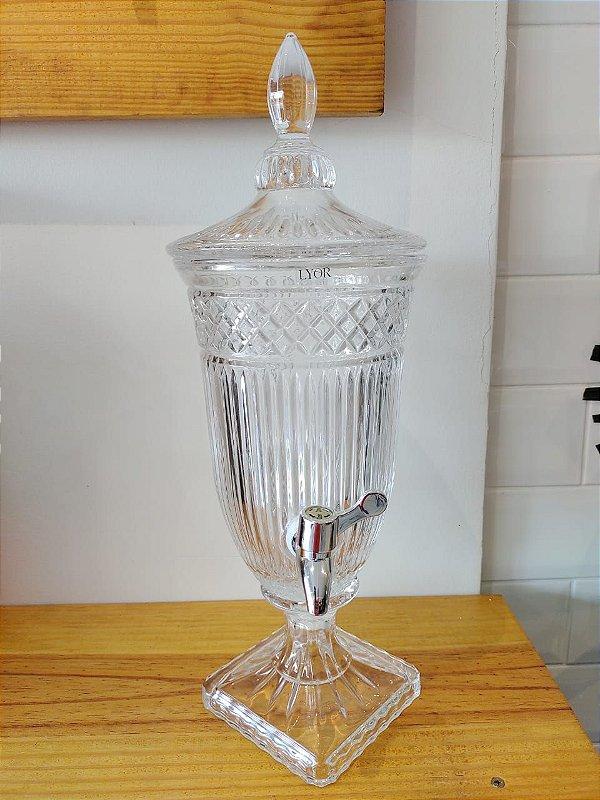 Suqueira Dispenser de Cristal 2 litros Persa com Torneira Prata LYOR