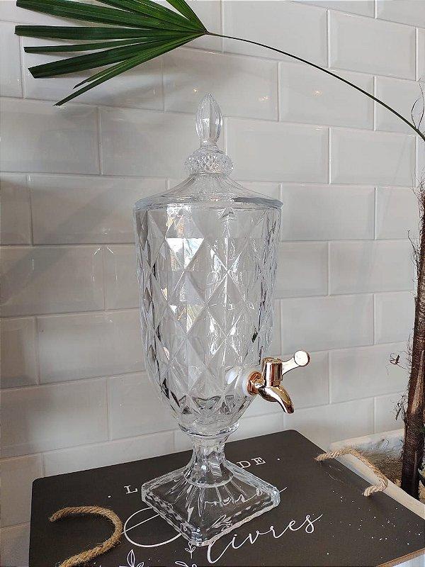 Suqueira Dispenser de Cristal 3 litros Diamond com Torneira Cobre LYOR