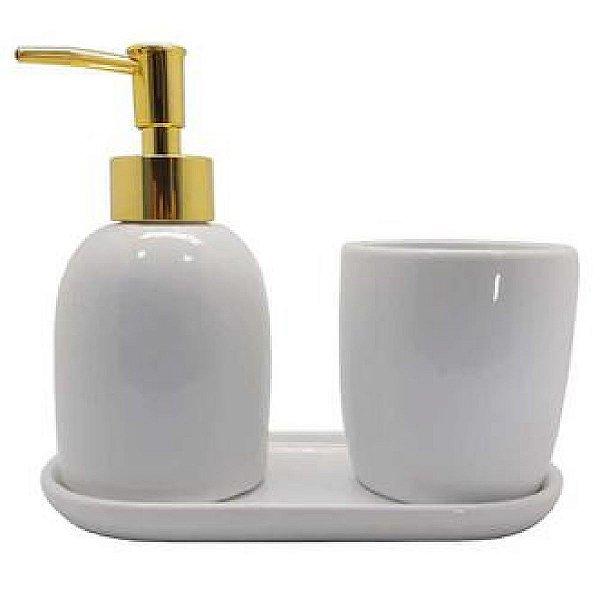Conjunto Banheiro 3 Pecas Ceramica Londres Dourado LYOR